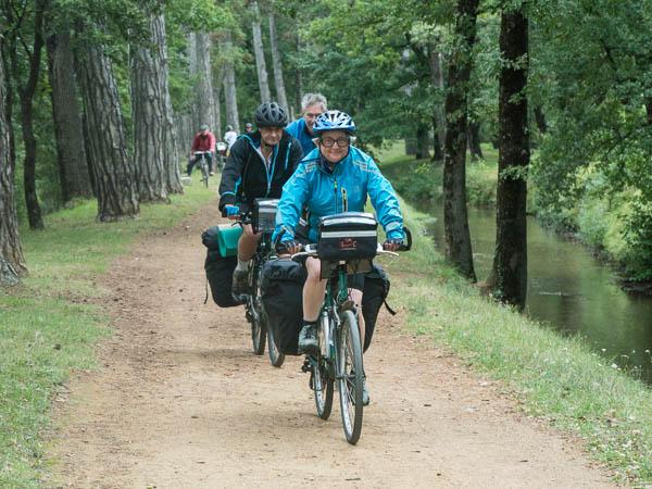 Evelyn, Ceri and Frank on the Rigole du Canal Midi cycle path